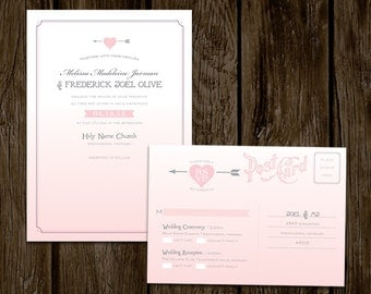 Pink Ombre Heart Wedding Invitations