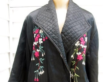 Vintage 1940s Asian Embroidered Quited Kimono Robe M L