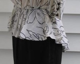 Vintage 1940s insp Black White Peplum Day Dress S Elastic Waist