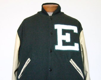 Mens Letterman Jacket Coat Forest Green Beige E Initial Fall Jacket Varsity Wool Leather Sleeves