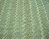 Free Shipping 31X18 ARMY GREEN Zig Zag Vintage Chenille Bedspread Fabric Cabin Crafts Patchwork Quilt Squares