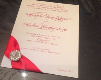Red and White Elegant Buckle and Satin Ribbon Wedding Invitation