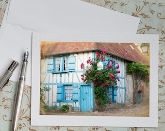 French Country Photo Notecard - The Blue House, Maison Bleue, Travel Photo Notecard, Note Card, Stationery, Blank Notecard