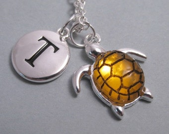Sea Turtle with Amber Resin Colored Shell Charm  Turtle  Silver Plated Charm  Charm  Supplies