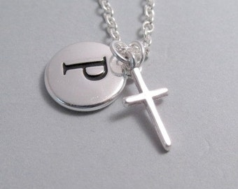 Cross Charm Necklace, Cross Keychain, Silver Plated Charm, Engraved Initial Charm, Personalized, Monogram