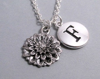 Chrysanthemum  Mum Flower Charm Silver Plated Charm Supplies