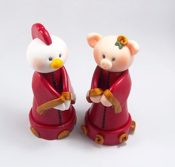chinese zodiac wedding cake toppers sign rooster sign pig figurine by heartshapedcreations 12675