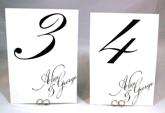 Table Number Cards - Simple Chic Calligraphy