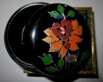 Vintage Pill Box in Black with Flowers by Sarsaparilla ~ Style # 2 Black