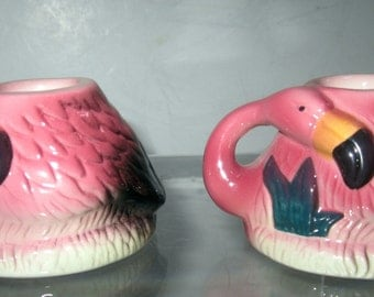 A  Small Pair of  Flamingo Candle Stick holder ~ Ceramic