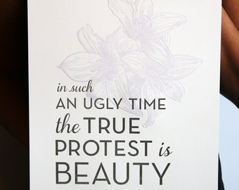 SALE - Letterpress Poster Art Print - Beauty 8x10