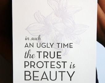 SALE - Letterpress Poster Art Print - Beauty 8x10