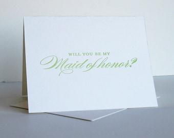 SALE - Letterpress wedding card - Maid of Honor spring green