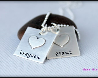 Hand Stamped Name Necklace, Square Name Necklace, Square with Soldered Heart Necklace,  Sterling Silver Square Pendant Necklace, Mama Mia