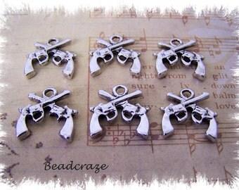 20 Hand Gun Charms ~ Pistol Charms ~ Revolver Charms