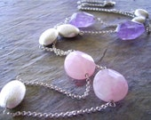 Amethyst & Rose Quartz Necklace with Sterling Silver Chain - Station Necklace - Cool Summers