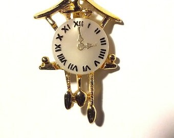 cuckoo clock brooch pin 80s punk new wave glam rock jewelry  boho bohemian time travel Dr Who