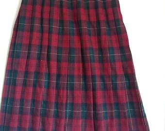 red plaid pleated skirt schoolgirl boho bohemian punk tartan Koret wool size 12 80s 70s normcore