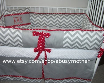 Gray Chevron zigzag Baby bedding Crib set DEPOSIT Down payment ONLY read details