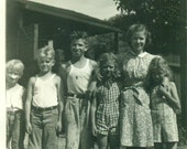 1930s Group of Farm Kids After Playing Outside Dirty Barefoot Boys Girls 30s Vintage Black and White Photo Photograph