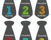 FREE GIFT, PERSONALIZED, Baby Boy Monthly Tie Stickers, Baby Month Stickers, Photo Prop,  Free Just Born and week stickers