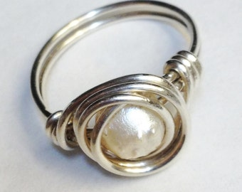 Pearl Druzy Ring  Druzy Ring  White Pearl Druzy Ring   Sterling Silver Ring Silver Jewelry
