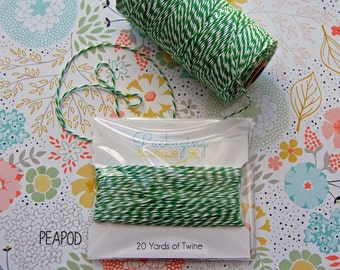 PEAPOD TWINERY - 20 Yards - Colorful Striped String - Kitchen bakers twine - wrapped neatly on a card. Other colors available