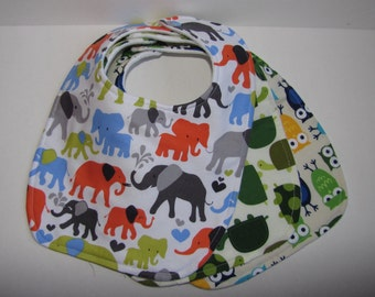 Baby Boy Bibs-Set of Three-Elephants, Owls and Turtles-Baby Gift-Shower Gift