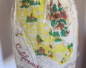 Vintage Sheer Souvenir Nylon Half Apron with Pocket - California Painted Gold Metallic - Unused
