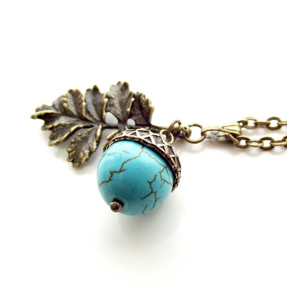 Turquoise acorn necklace  blue acorn  oak leaf pendant  autumn jewelryBlue Oak Acorn