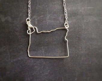 Oregon Necklace - Oregon State Necklace- Oregon Outline Necklace - Home - Oregon State - Silver or Gold- Personalized State Jewelry - PDX