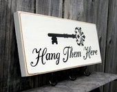Key Rack, Hang Them Here, Sign, Wall Rack, Keys, Hooks, Ivory, Black Lettering, Black Key