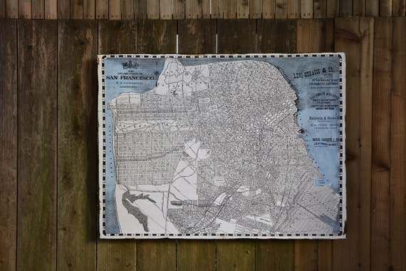 Vintage san francisco map 36x42 salvaged wood handmade Salvaged wood san francisco