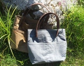 Gray Waxed Canvas, Cordura, and Leather Tote Bag
