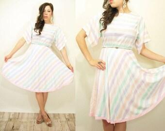 80's Vintage Rainbow Pastel Stripe Kimono Sleeve Dress / Full Skirt / Midi Length
