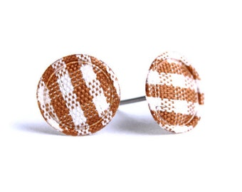 Brown chocolate and white plaid round dot padded fabric stud earrings READY to ship (456) - Flat rate shipping