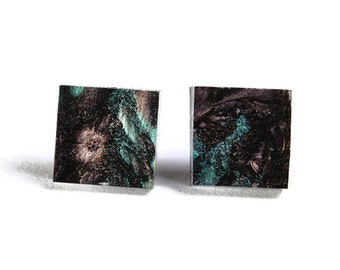 Green copper champagne glass square stud post earrings (709) - Flat rate shipping