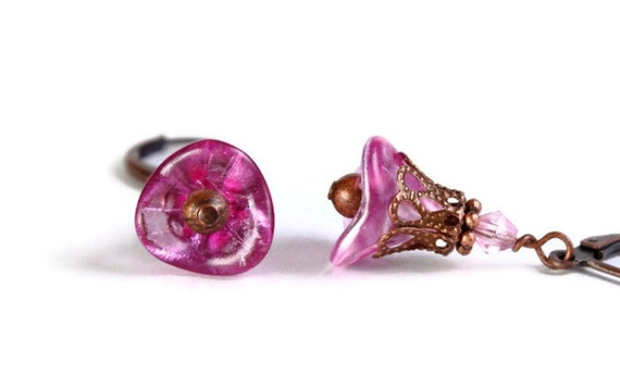 Hot pink trumpet bell flower and antique copper leverback earrings (282) - Flat rate shipping