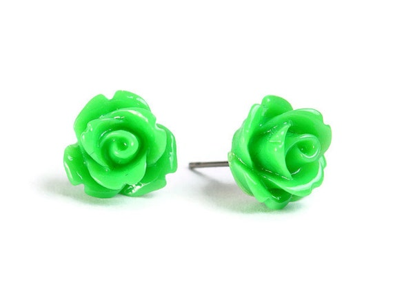 Green rose rosebud flower surgical steel hypoallergenic stud earrings READY to ship (436) - Flat rate shipping