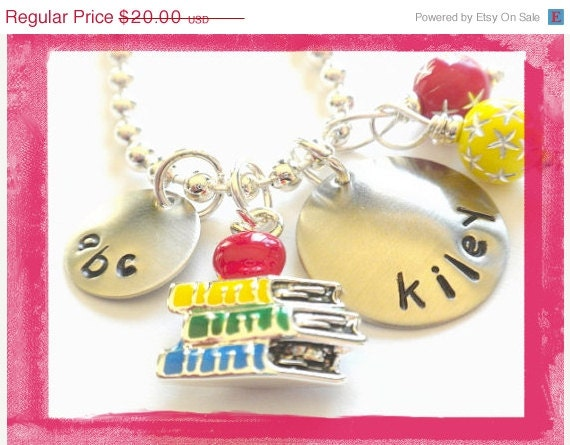 Personalized Necklace Hand Stamped BACK TO SCHOOL for Children