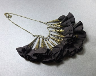 Chocolate Brown and Bronze Fabric Flower Statement Necklace