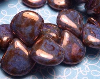 Violet Luster Glass Briolette Beads 12mm - 8pc SALE