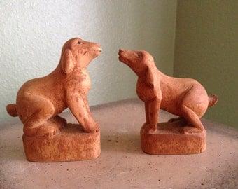 Vintage carved wood Dog figures