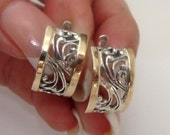 Great 9K Yellow Gold & Sterling Silver filigree Earrings (s e11300 gorgeous Gift
