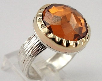 SALE PRICE - Stunning 9K Yellow Gold & Silver Champagne Quartz Ring size 6