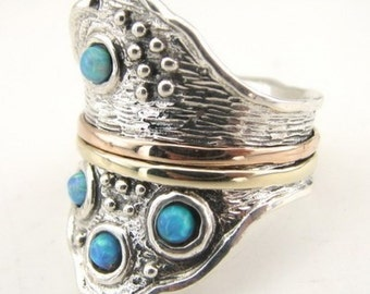 Jewela Unique Silver Gold Opal Ring 8.5 (d r1301)