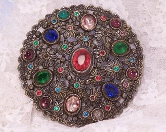 1930's Little Nemo Brooch, Antique Rhinestone Brooch, L/N Pin, Vintage Estate Jewelry, Bridal Bouquet Jewelry, Wedding Statement Piece