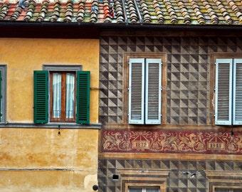 Italy Photograph Italian House Photo Neutral Colors Brown Cafe Au Lait Tan Beige Fine Art Print ita97