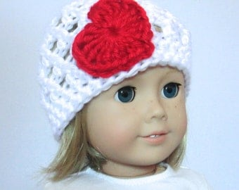 """Heart Beanie White Red 18"""" Doll American Girl Size"""
