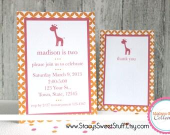 Giraffe Birthday Invitation, Pink, DIY, Printable